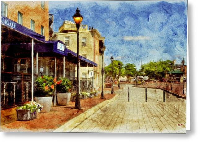 Fells Point Restaurant, Balltimore, Md.  Greeting Card by Chet  Dembeck