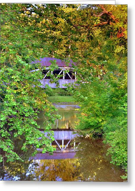 Felton Covered Bridge Reflections Greeting Card by Lisa Wooten