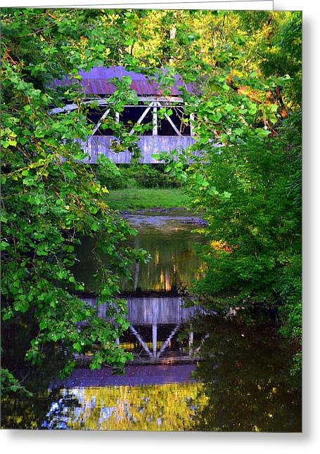 Felton Covered Bridge Vertical Greeting Card by Lisa Wooten
