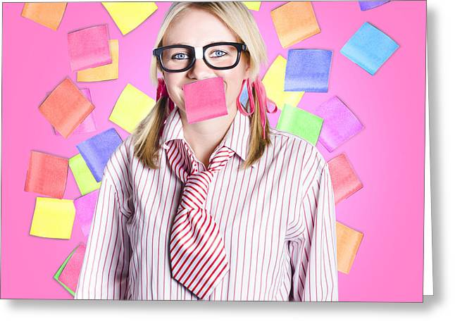 Female Admin Clerk Swamped With Multitasking Jobs  Greeting Card by Jorgo Photography - Wall Art Gallery