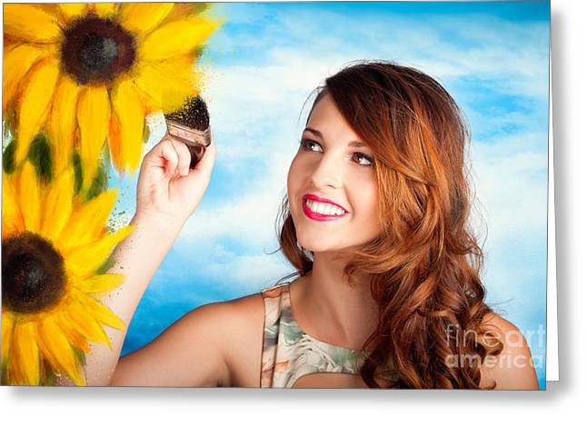 Female Artist Drawing Sun Flowers During Summer Greeting Card by Jorgo Photography - Wall Art Gallery