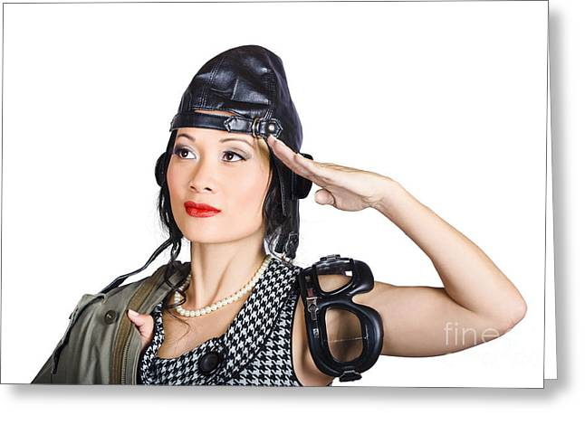 Leather Coat Greeting Cards - Female aviation lady saluting in pin-up class Greeting Card by Ryan Jorgensen