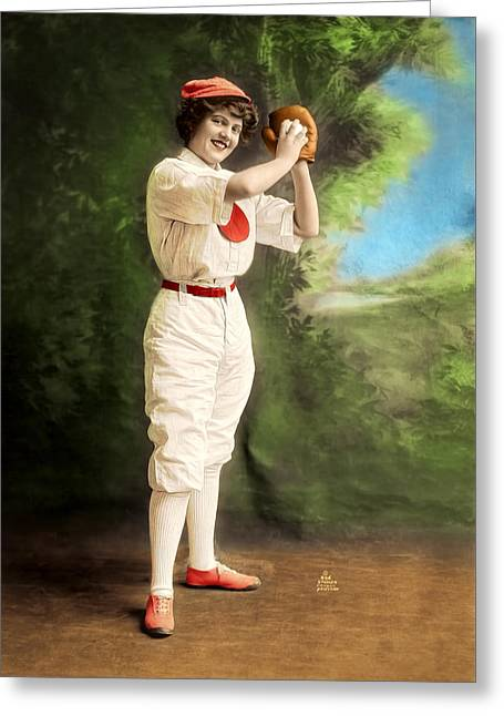 Softball Mitt Greeting Cards - Female Baseball Player Greeting Card by Maria Coulson