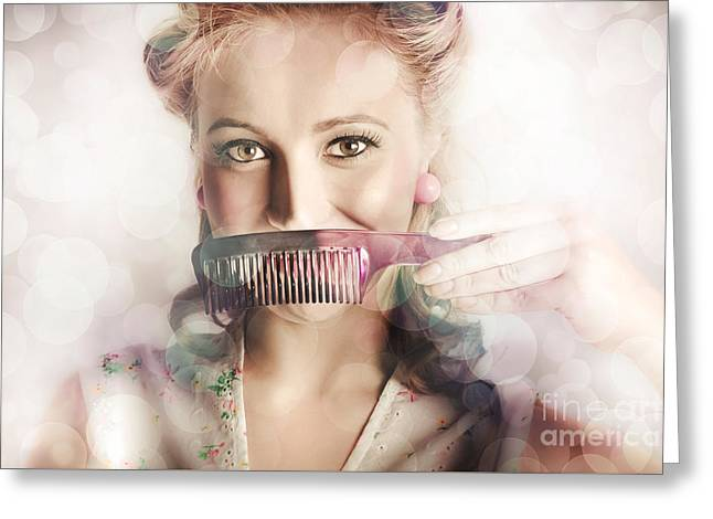 Female Beauty Salon Hairdresser Creating Hairstyle Greeting Card by Jorgo Photography - Wall Art Gallery