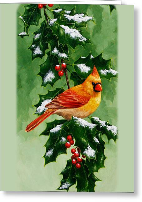 Female Cardinal And Holly Phone Case Greeting Card by Crista Forest
