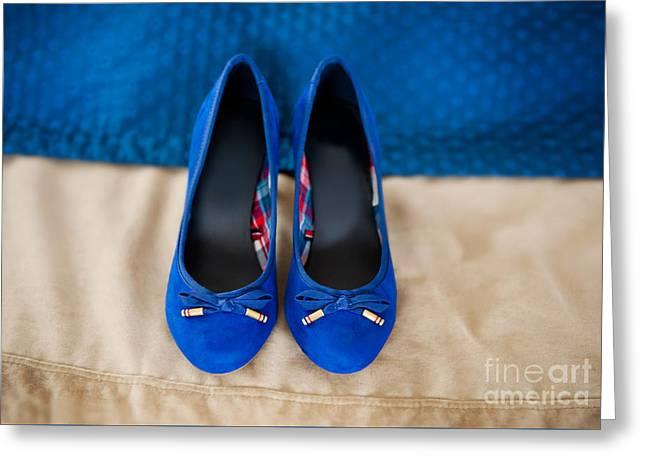 Footgear Greeting Cards - Female elegance bridal blue shoes Greeting Card by Arletta Cwalina