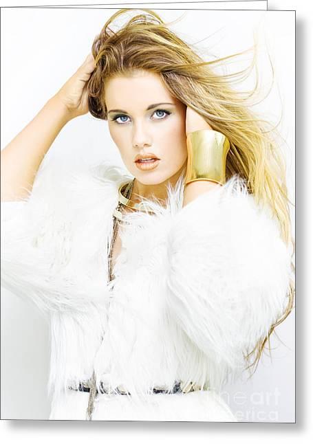 Gold Jacket Greeting Cards - Female Fashion Model Greeting Card by Ryan Jorgensen