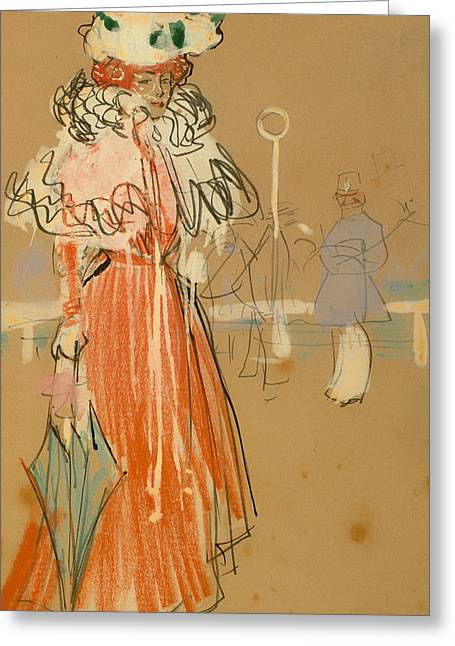 Pencil On Canvas Greeting Cards - Female Figure In Red Greeting Card by Ramon Casas