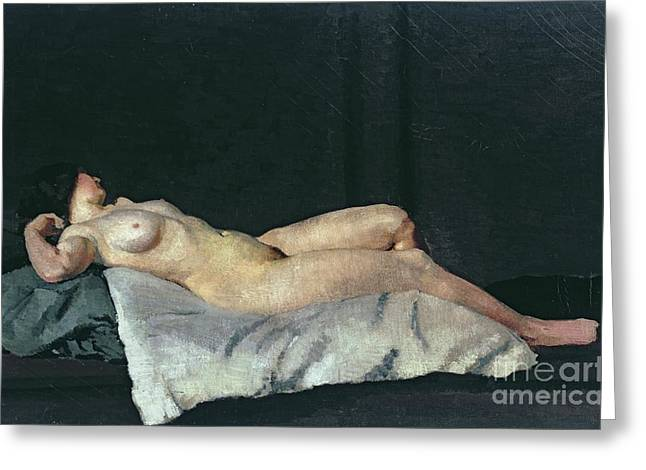 Woman Canvas Greeting Cards - Female Figure Lying on Her Back Greeting Card by Dora Carrington