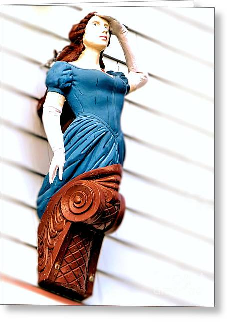Wooden Ship Greeting Cards - Female Figurehead Greeting Card by Janice Drew