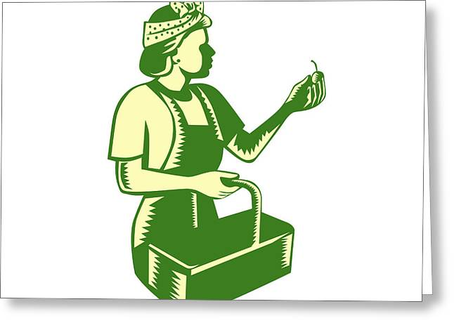 Linocut Print Greeting Cards - Female Fruit Picker Worker Basket Woodcut Greeting Card by Aloysius Patrimonio