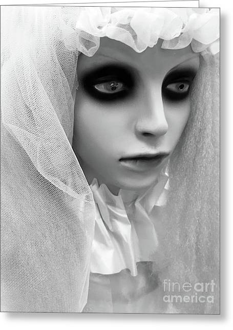 Female Ghost Halloween Print -  Dearly Departed Ghostly Female Soul - My Beloved Greeting Card by Kathy Fornal