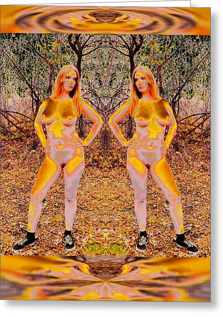 Symmetry Axis Greeting Cards - Female - Gold Godlings Forever Nurture Forest 2014 Greeting Card by James Warren