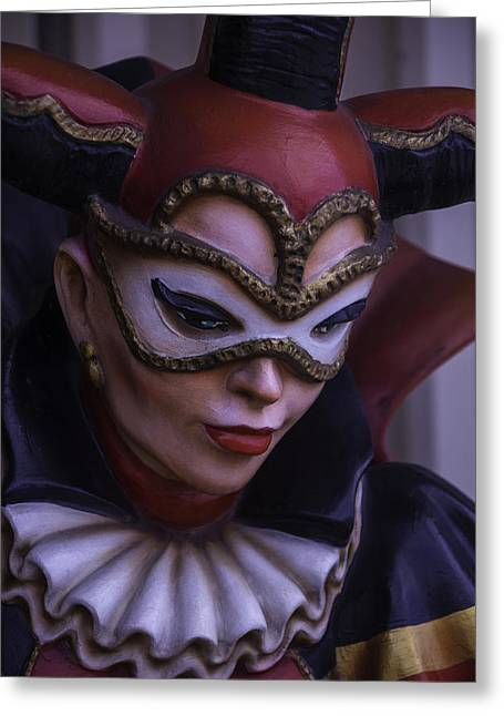 Mardi Gras Greeting Cards - Female Jester Greeting Card by Garry Gay