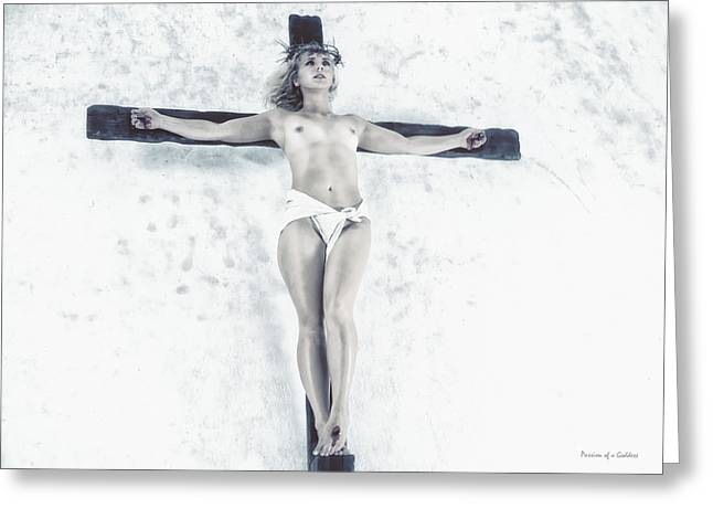 Mulher Greeting Cards - Female Jesus on crucifix Greeting Card by Ramon Martinez
