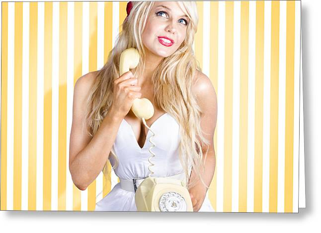 Female Model With Phone In Classic Retro Fashion Greeting Card by Jorgo Photography - Wall Art Gallery