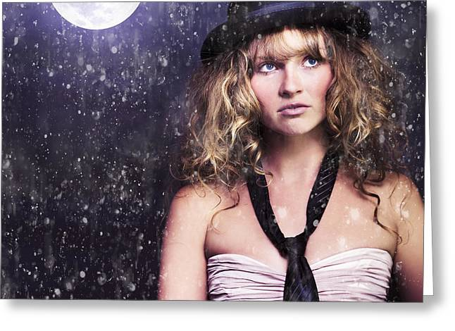 Female Moon Light Night Performer Acting In Rain Greeting Card by Jorgo Photography - Wall Art Gallery