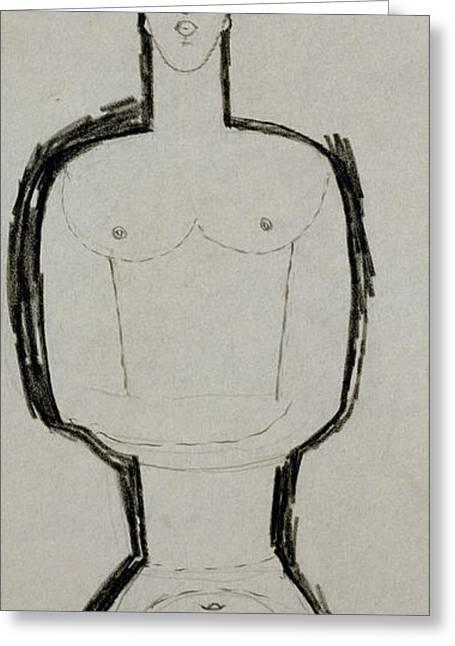Female Nude Greeting Card by Amedeo Modigliani