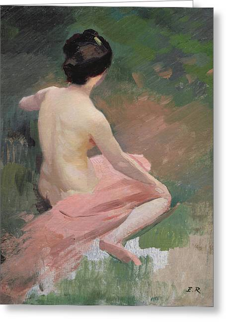 Seen Greeting Cards - Female Nude Greeting Card by Jules Ernest Renoux
