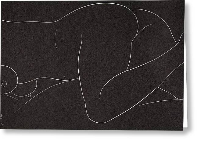 Bottom Greeting Cards - Female Nude lying Greeting Card by Eric Gill