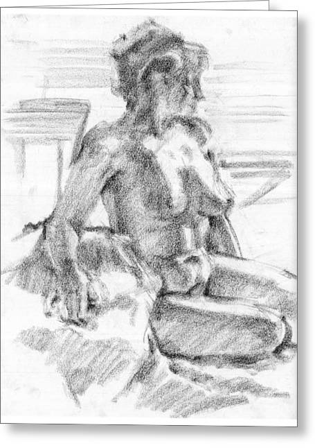African-american Drawings Greeting Cards - Female Nude Greeting Card by Michael Colbert