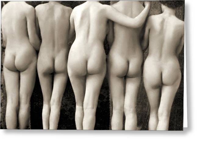 Female Nude Quintet Greeting Card by French School