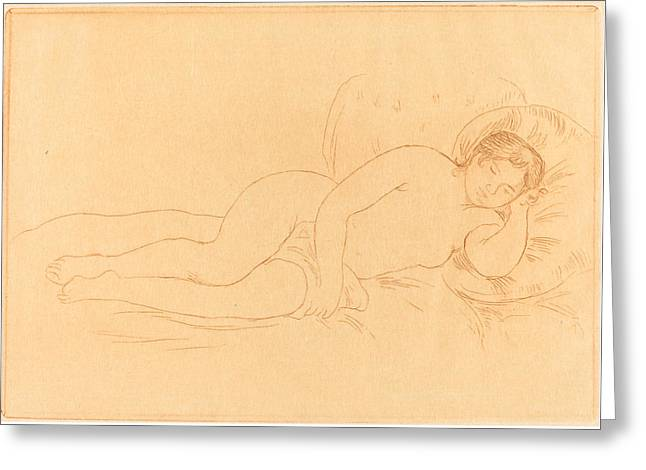 Famous ist Drawings Greeting Cards - Female Nude Reclining - femme Nue Couchee Greeting Card by Auguste Renoir