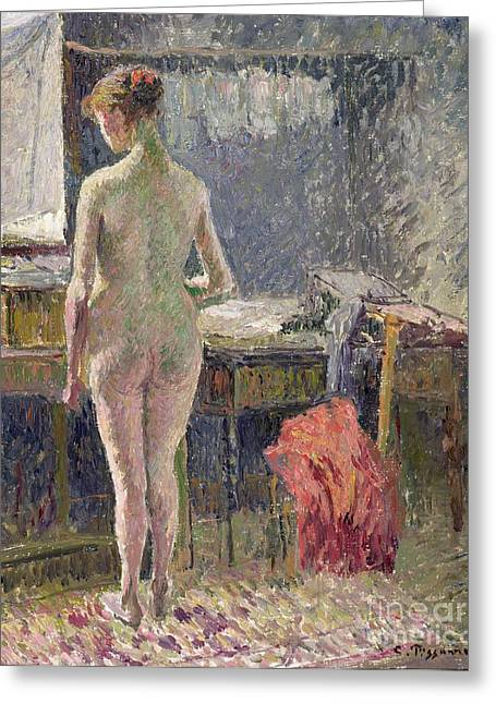 Full Body Paintings Greeting Cards - Female Nude seen from the Back Greeting Card by Camille Pissarro