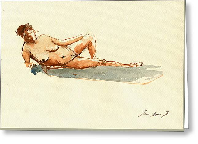 Nude Drawings Greeting Cards - Female Nude Watercolor Greeting Card by Juan  Bosco