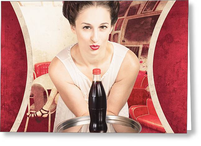 Female Postcard Pinup Girl In 60s Restaurant Greeting Card by Jorgo Photography - Wall Art Gallery