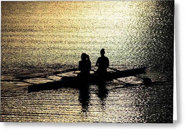 Female Rowers On Sunset Lake Greeting Card by Andreas Berthold