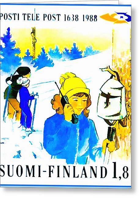 Female Skier With Mobile Phone Greeting Card by Lanjee Chee