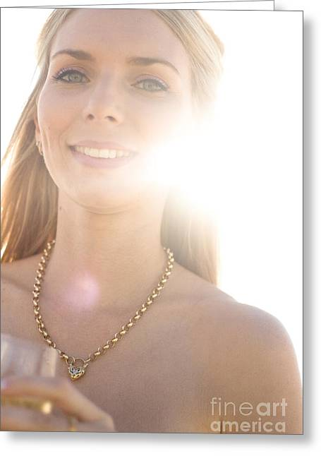 Champagne Glasses Greeting Cards - Female Wedding Guest Greeting Card by Ryan Jorgensen