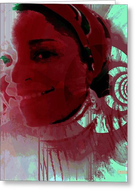 Diaspora Mixed Media Greeting Cards - Femme Creole Greeting Card by Fania Simon