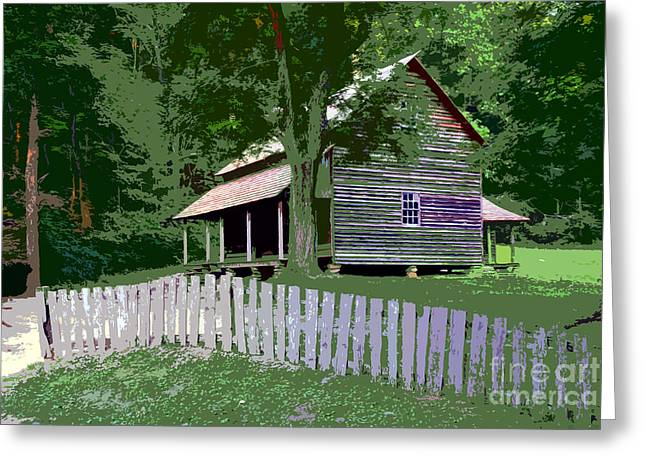 Old Cabins Greeting Cards - Fence and cabin Greeting Card by David Lee Thompson
