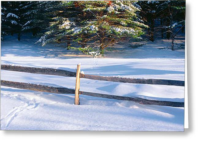 Small Towns Greeting Cards - Fence And Snow In Winter, Vermont Greeting Card by Panoramic Images
