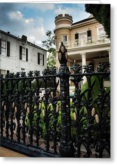 Fence At Cornstalk Hotel Greeting Card by Chrystal Mimbs