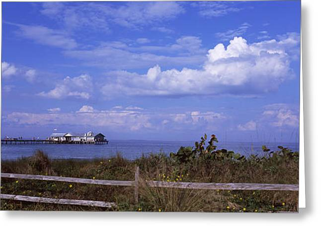 City Pier Greeting Cards - Fence On The Beach With A Pier Greeting Card by Panoramic Images
