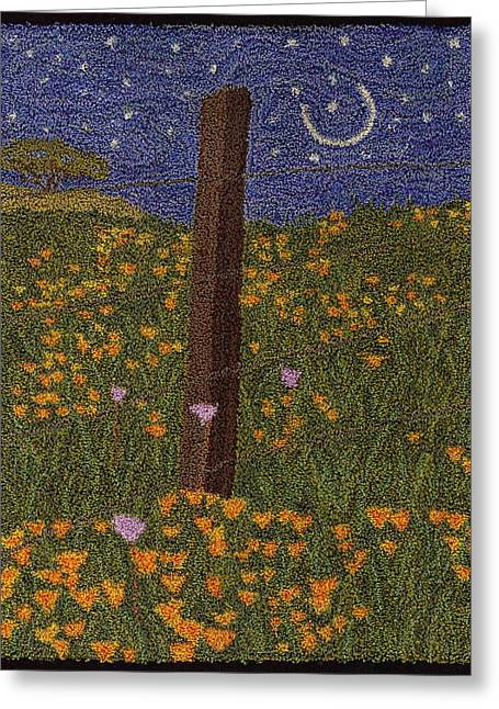 Primitive Tapestries - Textiles Greeting Cards - Fence Post In The Flowers Greeting Card by Jan Schlieper