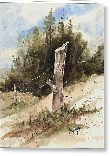 Wire Paintings Greeting Cards - Fence Post Greeting Card by Sam Sidders