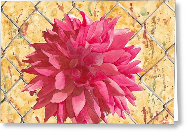 Dahlia Greeting Cards - Fenced Greeting Card by Ken Powers