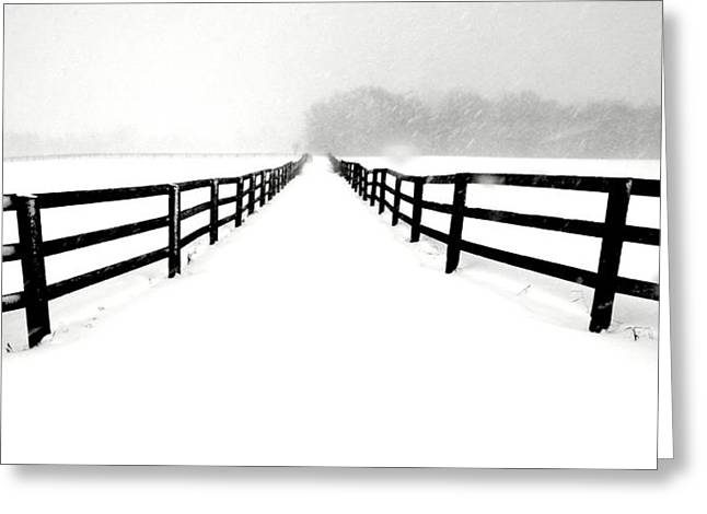 Russ Styles Greeting Cards - Fenced white out Greeting Card by Russell Styles