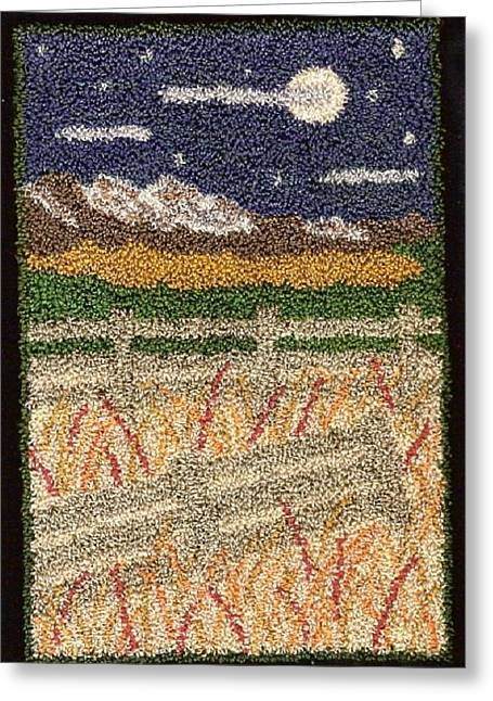 Primitive Tapestries - Textiles Greeting Cards - Fences Greeting Card by Jan Schlieper