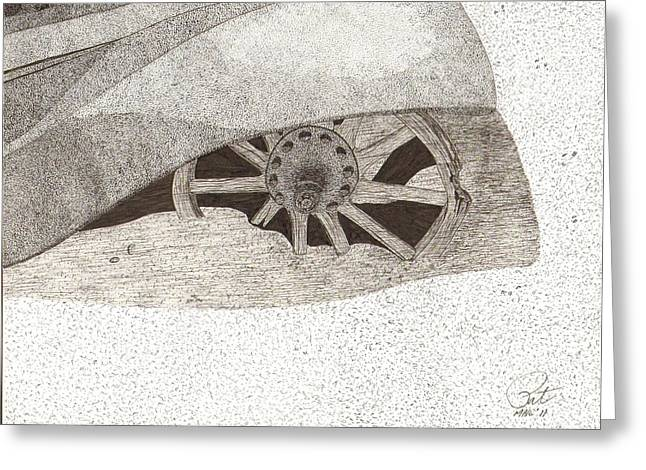Spokes Drawings Greeting Cards - Fender and Spokes Greeting Card by Pat Price