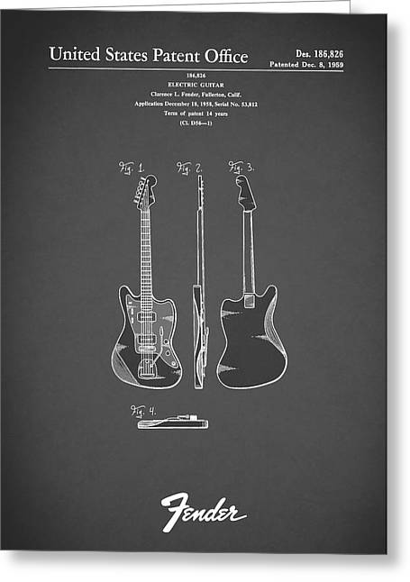 Electric Guitar Greeting Cards - Fender Electric Guitar 1959 Greeting Card by Mark Rogan