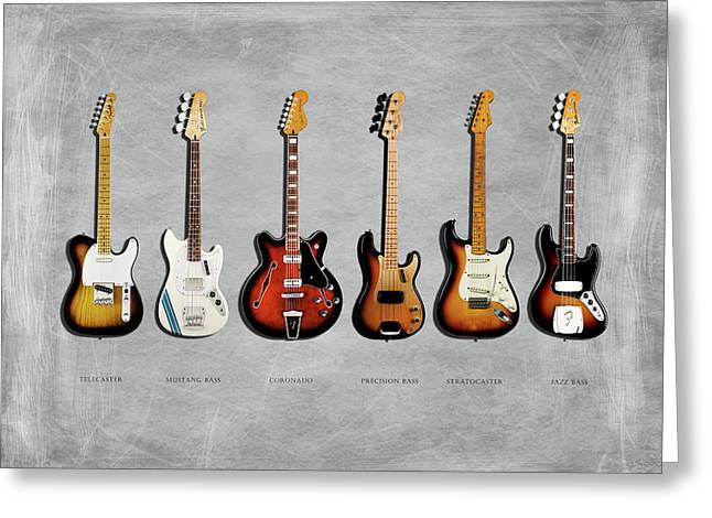 Fender Guitar Collection Greeting Card by Mark Rogan