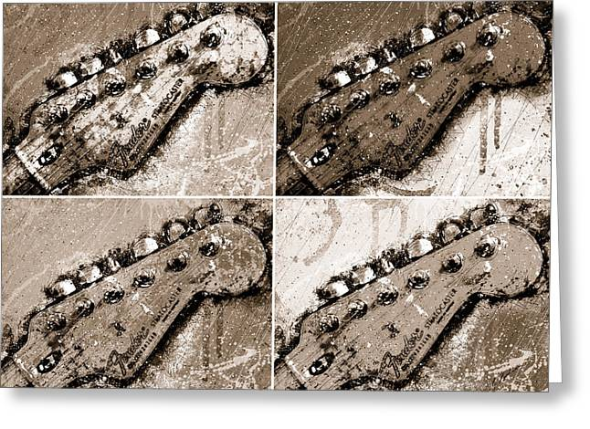 Iconic Guitars Greeting Cards - QuadraSepia Greeting Card by Gary Bodnar