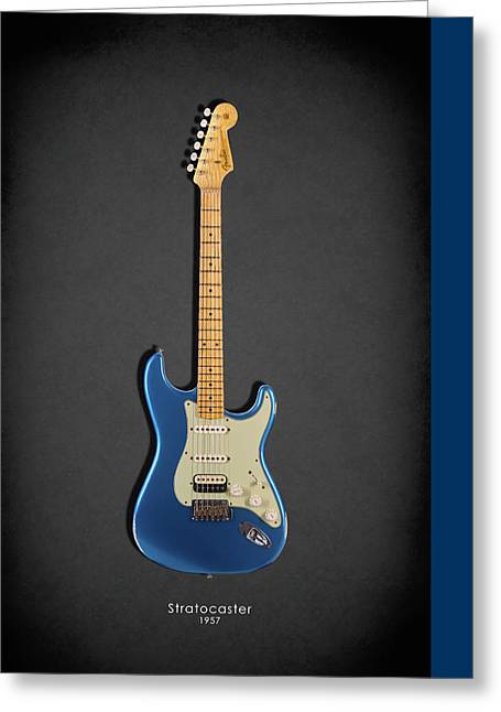Rock N Roll Greeting Cards - Fender Stratocaster 57 Greeting Card by Mark Rogan
