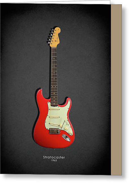 Rock N Roll Photographs Greeting Cards - Fender Stratocaster 63 Greeting Card by Mark Rogan