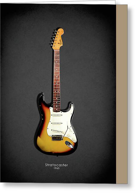 Rock N Roll Photographs Greeting Cards - Fender Stratocaster 65 Greeting Card by Mark Rogan